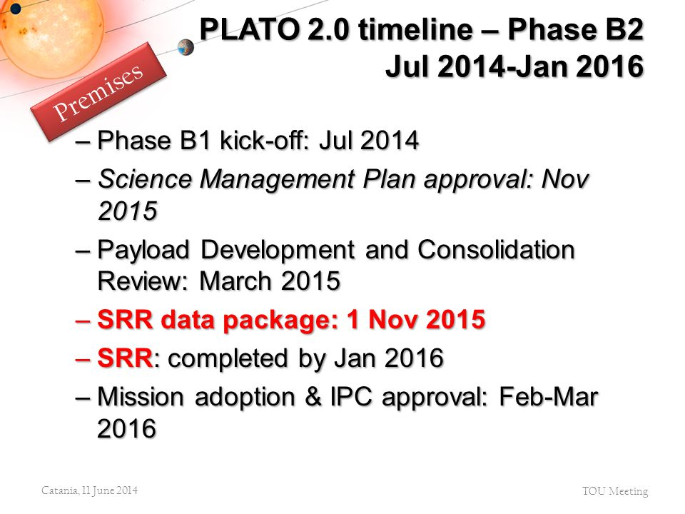 PLATO 2.0 timeline – Phase B2 Jul 2014-Jan 2016