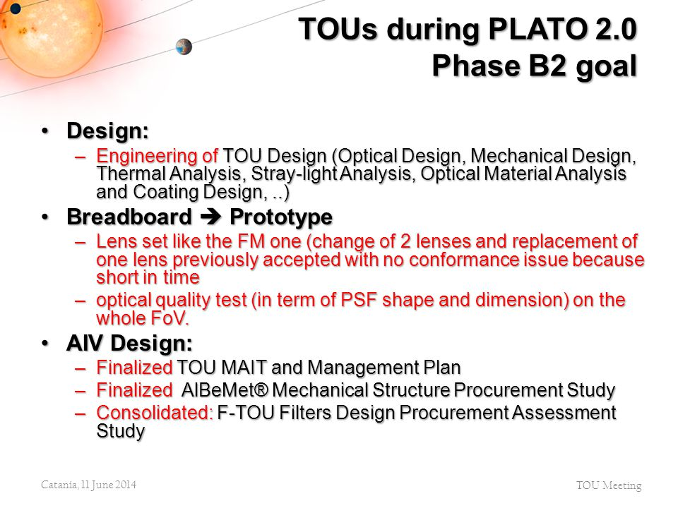 TOUs during PLATO 2.0 Phase B2 goal