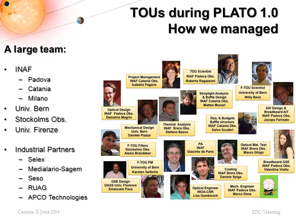 TOUs during PLATO 1.0 How we managed