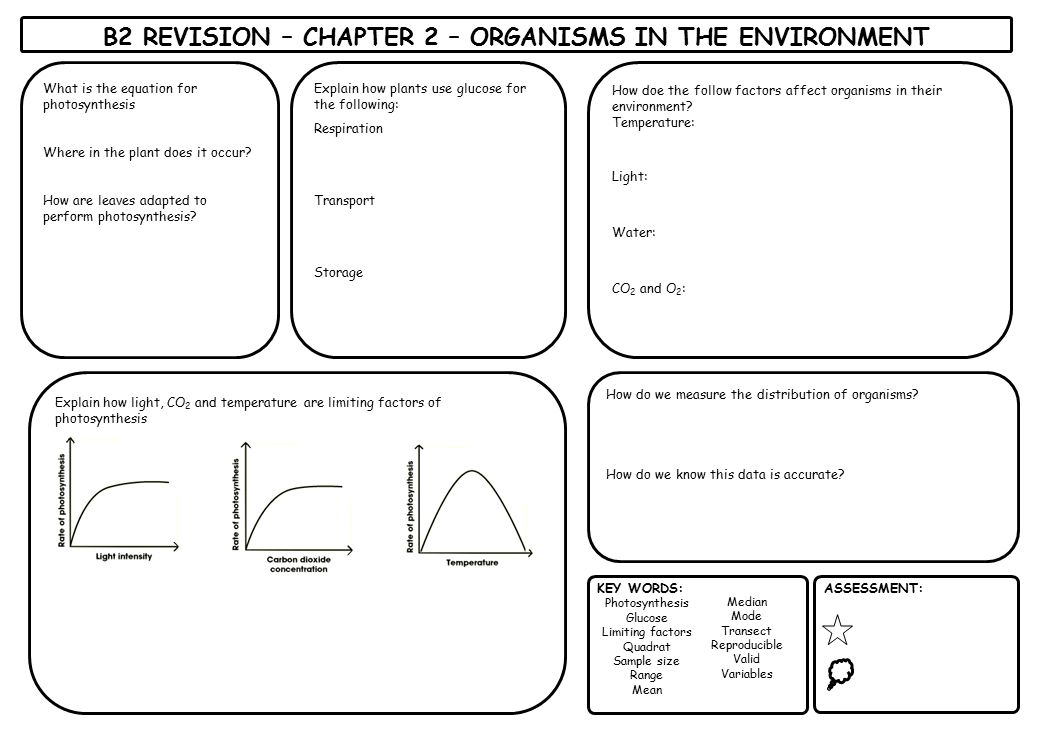 B2 REVISION – CHAPTER 2 – ORGANISMS IN THE ENVIRONMENT