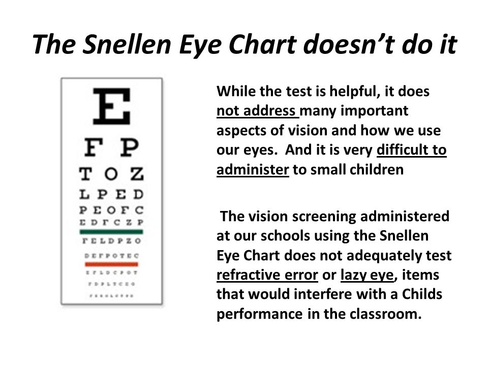 The Snellen Eye Chart doesn't do it