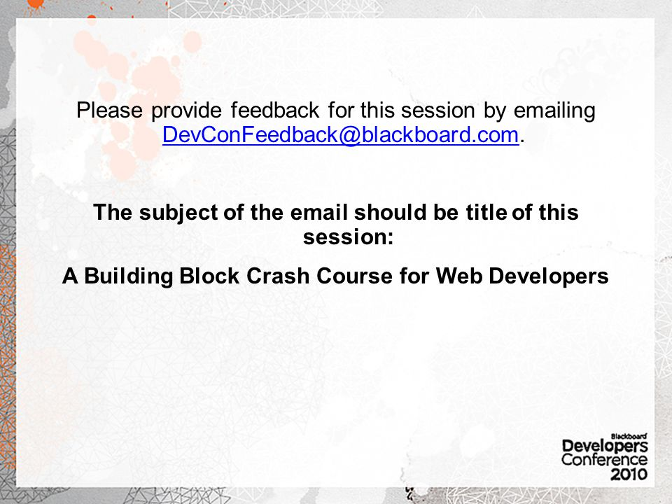 The subject of the email should be title of this session: