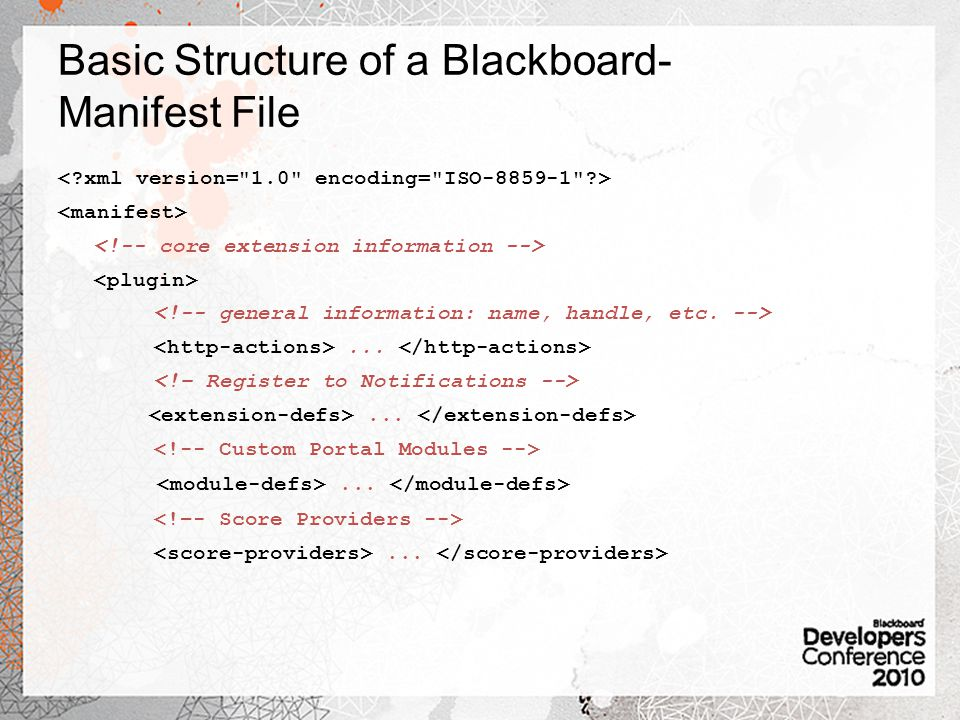 Basic Structure of a Blackboard-Manifest File