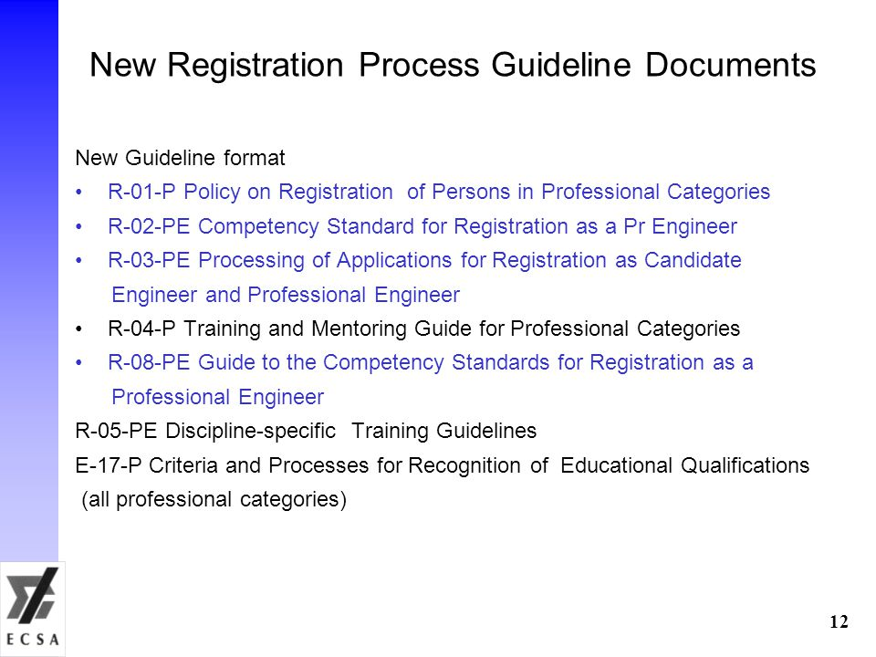 New Registration Process Guideline Documents