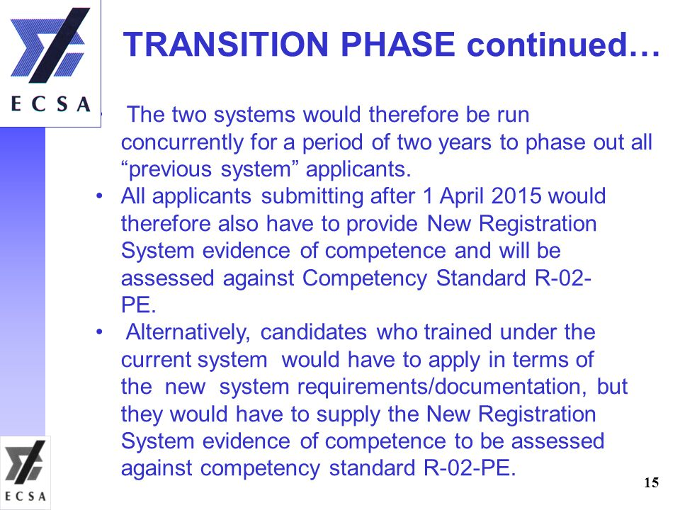 TRANSITION PHASE continued…