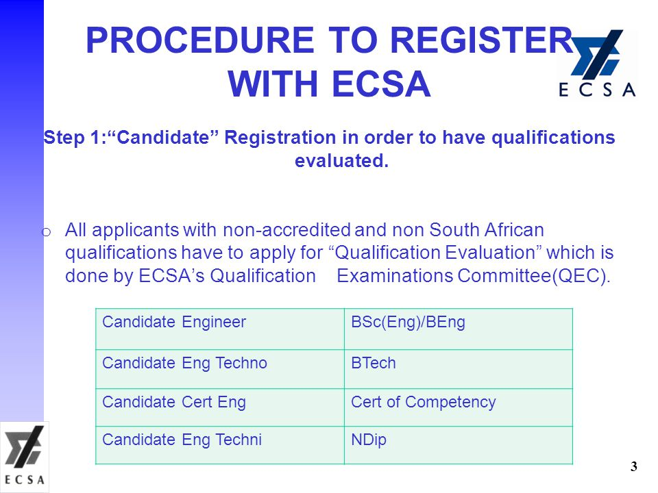 PROCEDURE TO REGISTER WITH ECSA