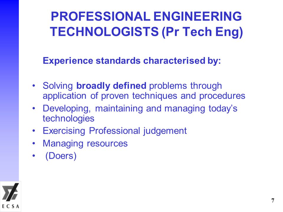 PROFESSIONAL ENGINEERING TECHNOLOGISTS (Pr Tech Eng)