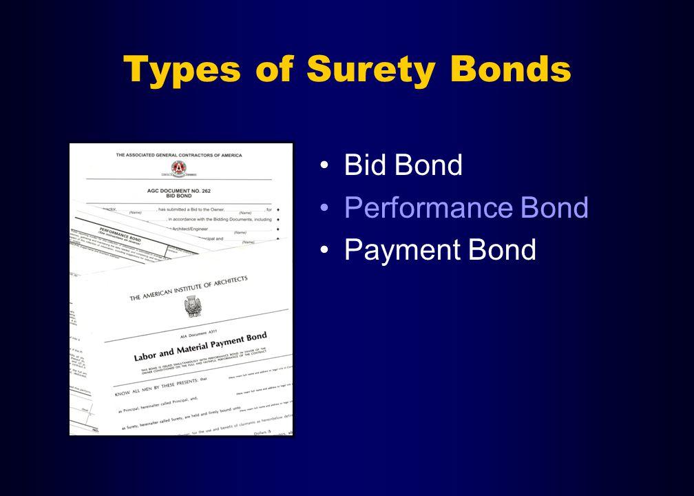 Types of Surety Bonds Bid Bond Performance Bond Payment Bond
