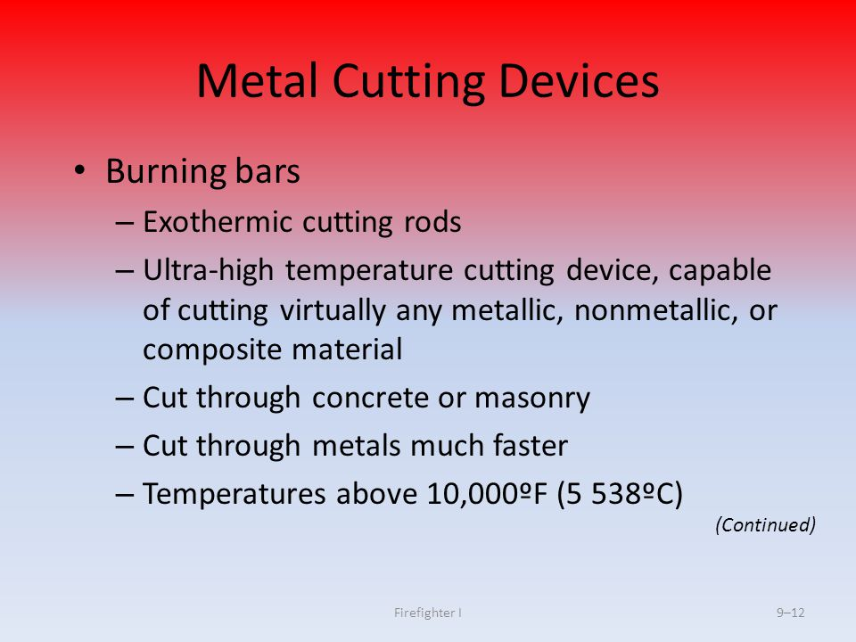 Metal Cutting Devices Burning bars Exothermic cutting rods