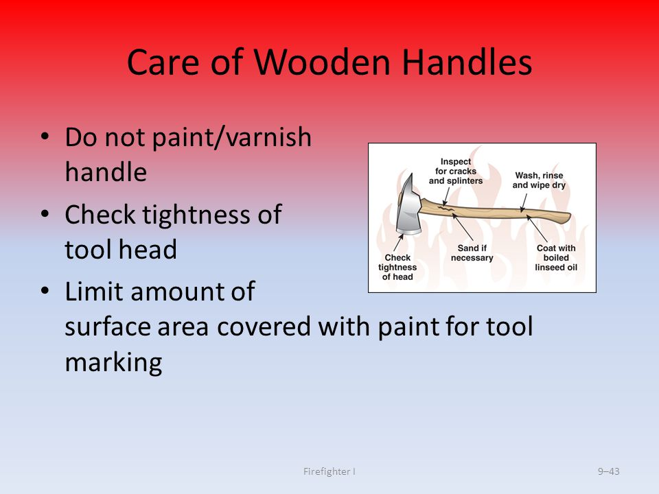 Care of Wooden Handles Do not paint/varnish handle