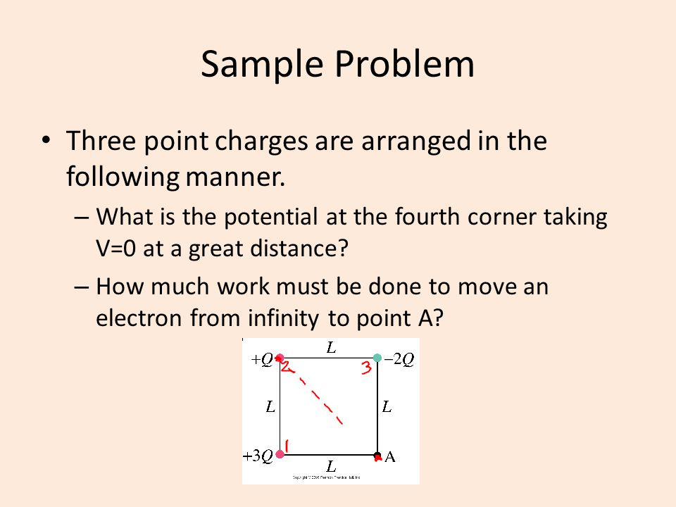 Sample Problem Three point charges are arranged in the following manner. What is the potential at the fourth corner taking V=0 at a great distance