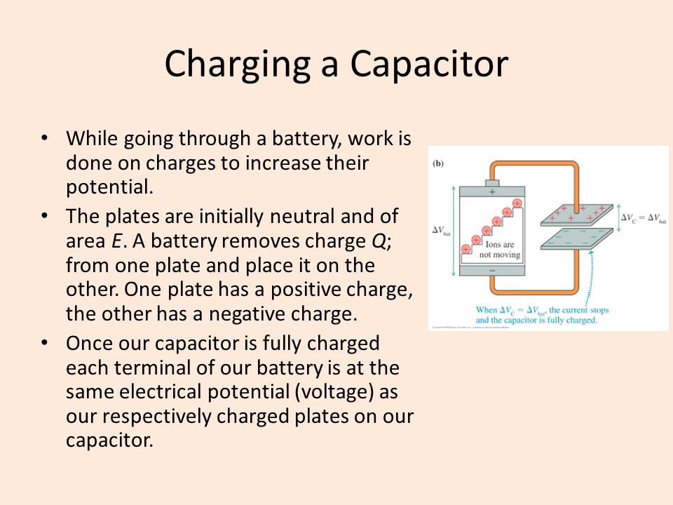 Charging a Capacitor While going through a battery, work is done on charges to increase their potential.