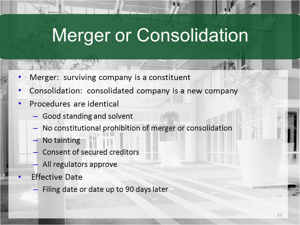 Merger or Consolidation