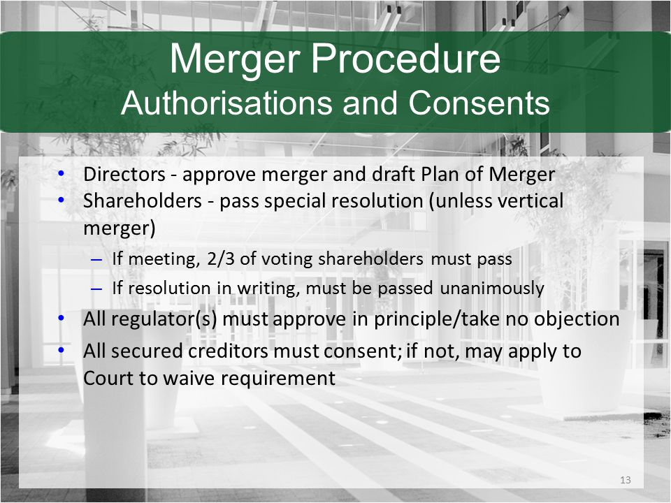 Merger Procedure Authorisations and Consents