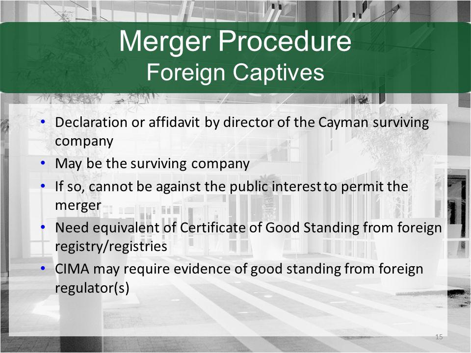 Merger Procedure Foreign Captives