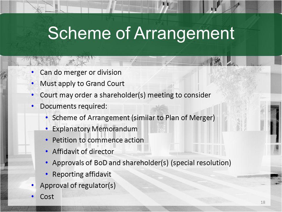 Scheme of Arrangement Can do merger or division