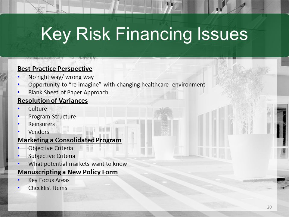 Key Risk Financing Issues