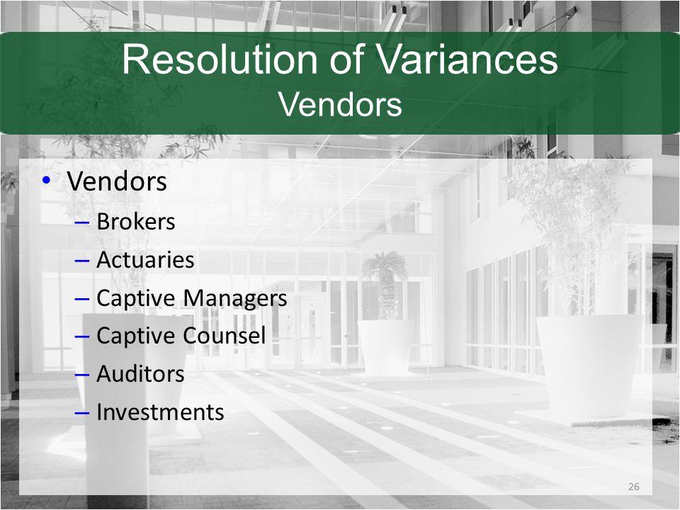 Resolution of Variances Vendors