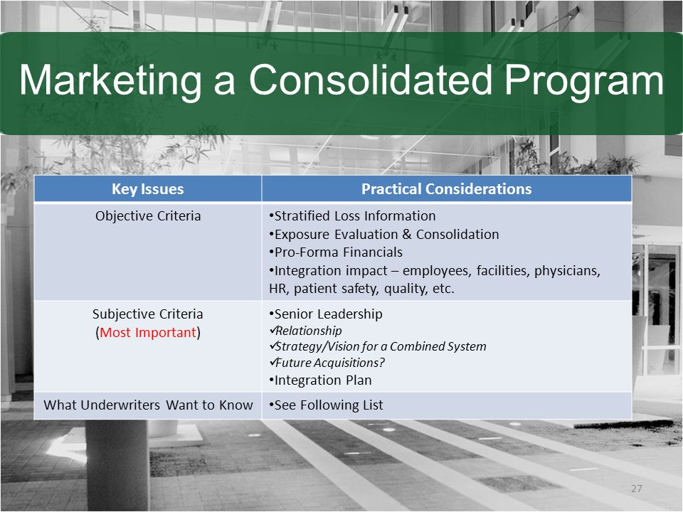 Marketing a Consolidated Program