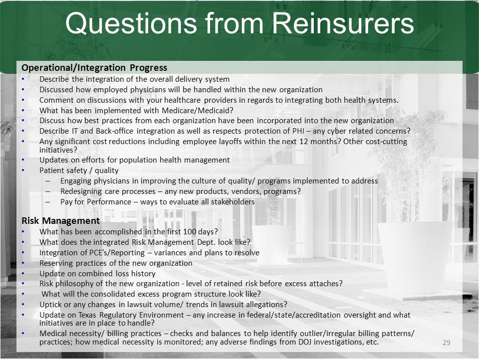 Questions from Reinsurers