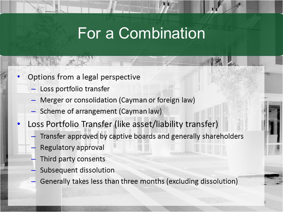 For a Combination Options from a legal perspective. Loss portfolio transfer. Merger or consolidation (Cayman or foreign law)