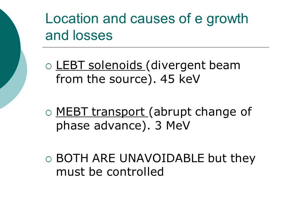 Location and causes of e growth and losses