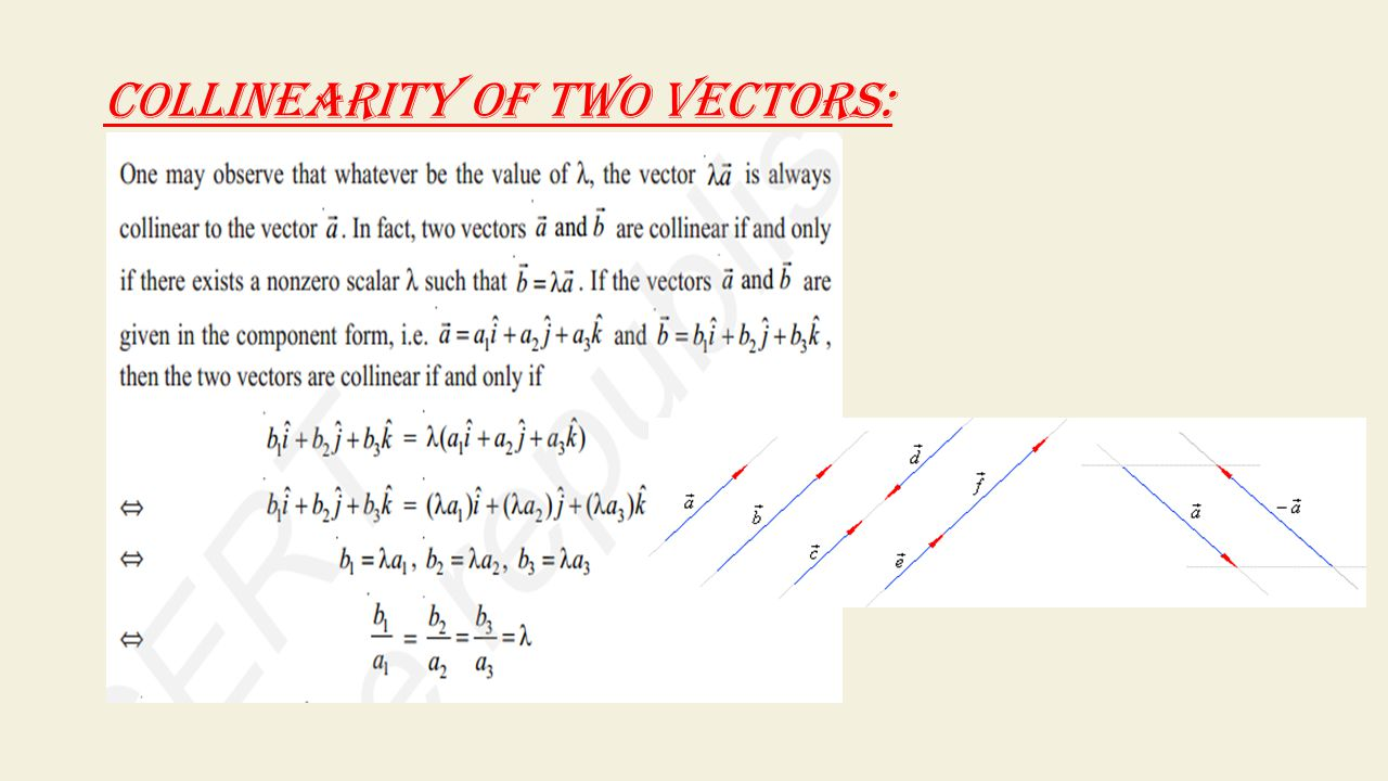 COLLINEARITY OF TWO VECTORS: