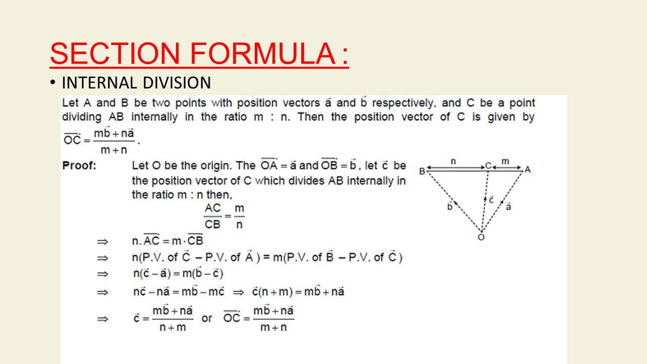 SECTION FORMULA : INTERNAL DIVISION