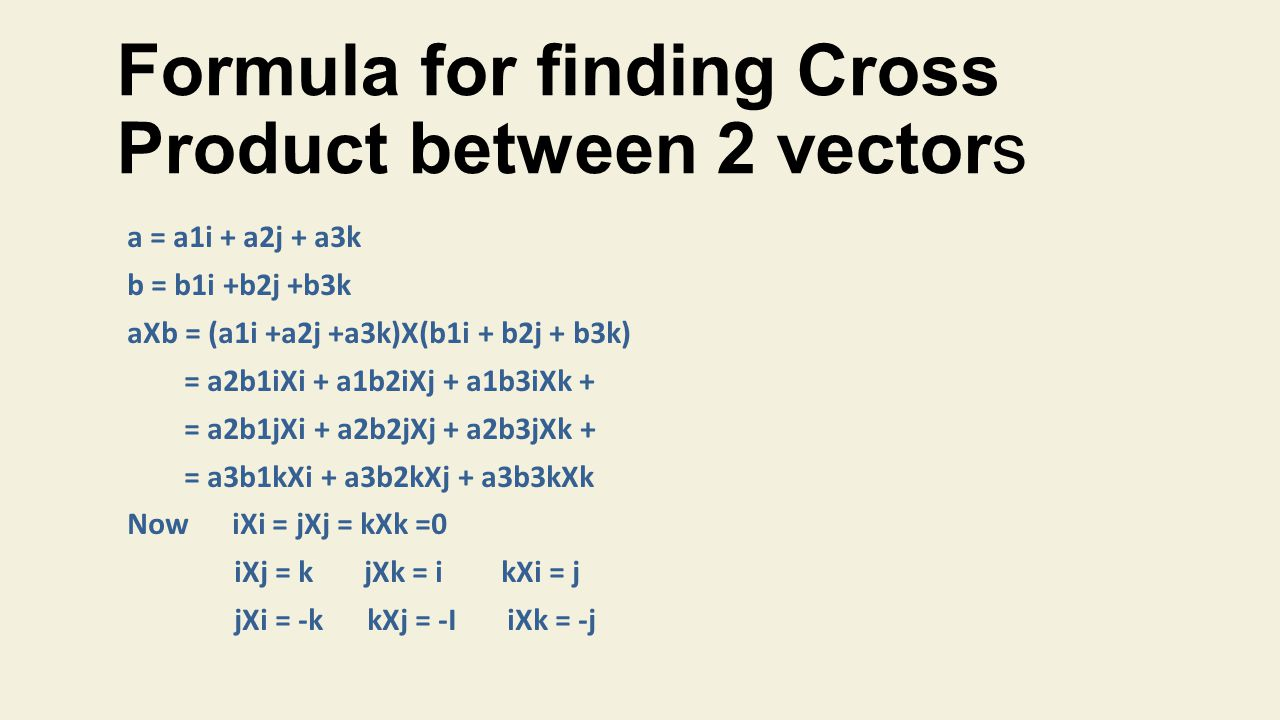 Formula for finding Cross Product between 2 vectors