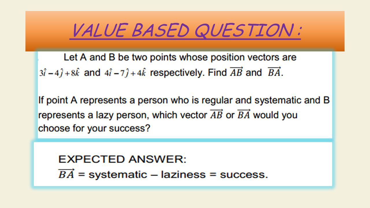 VALUE BASED QUESTION :