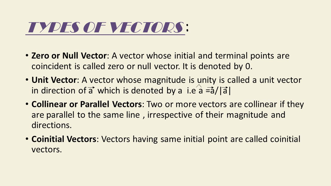 TYPES OF VECTORS : Zero or Null Vector: A vector whose initial and terminal points are coincident is called zero or null vector. It is denoted by 0.