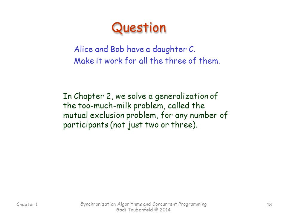 Question Alice and Bob have a daughter C.