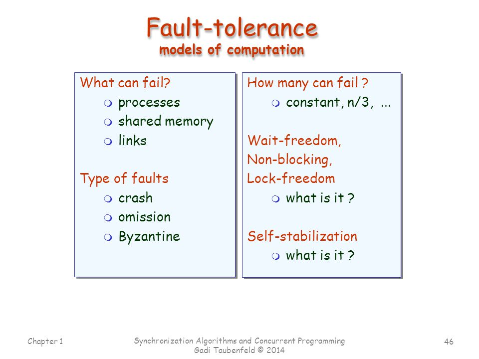 Fault-tolerance models of computation