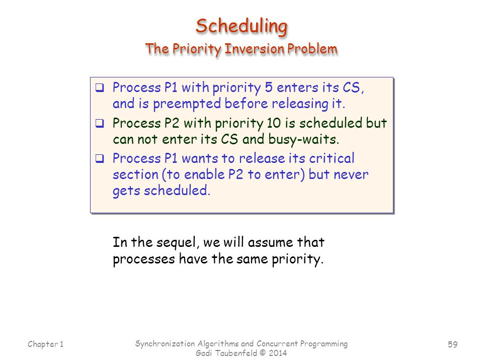 Scheduling The Priority Inversion Problem