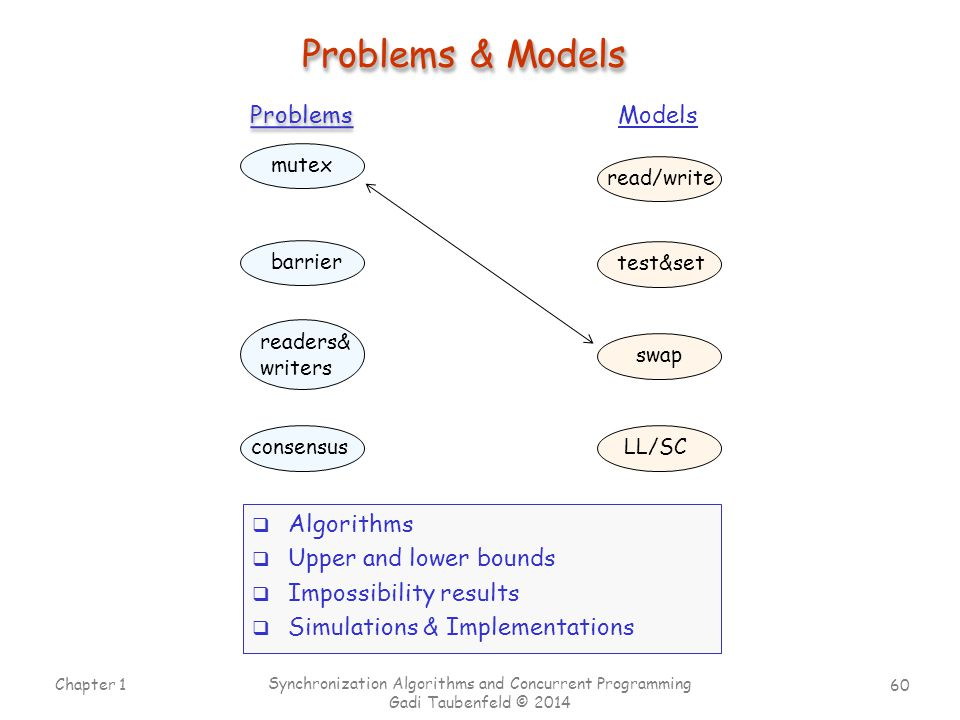 Problems & Models Problems Models Algorithms Upper and lower bounds