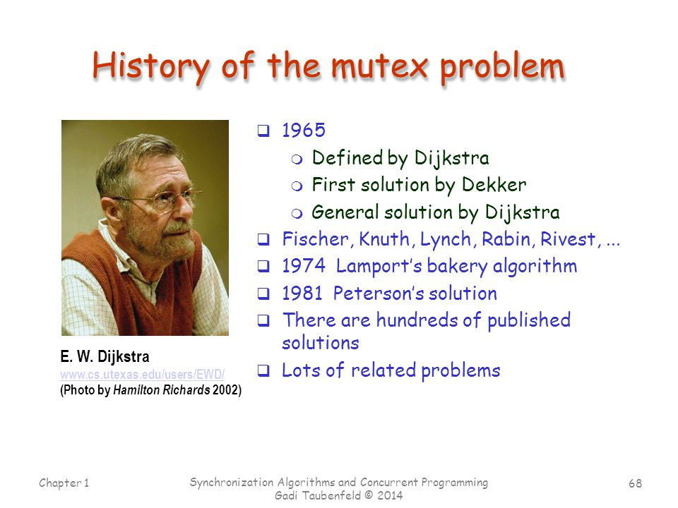 History of the mutex problem