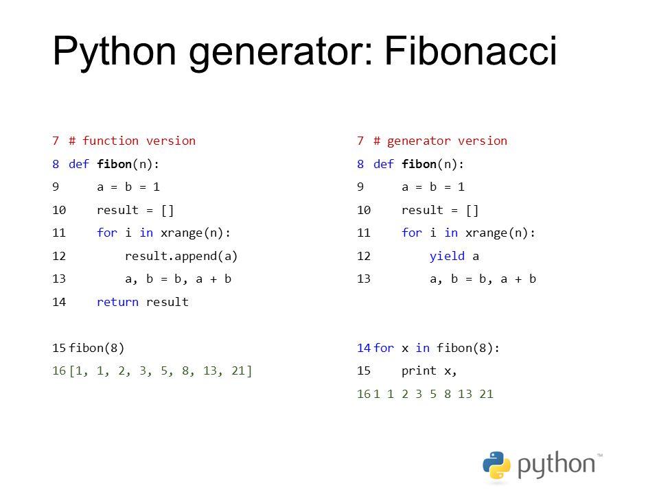 Python generator: Fibonacci