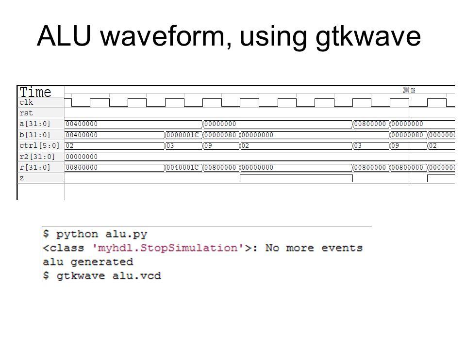 ALU waveform, using gtkwave