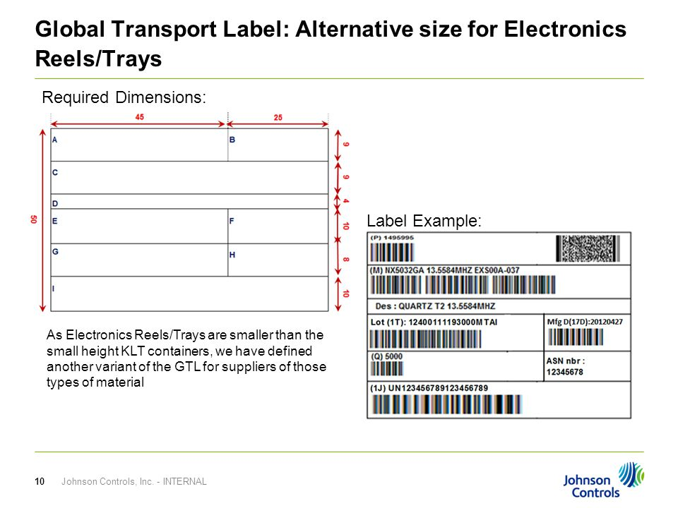 Global Transport Label: Alternative size for Electronics Reels/Trays