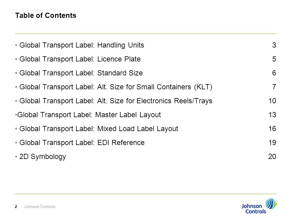 Global Transport Label: Handling Units