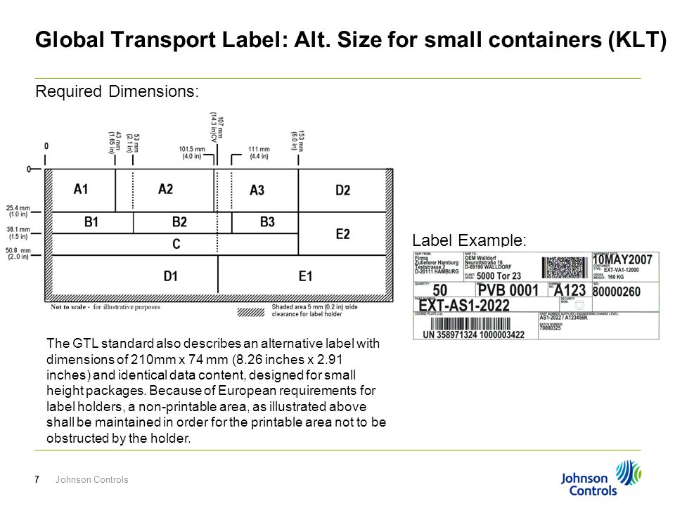 Global Transport Label: Alt. Size for small containers (KLT)