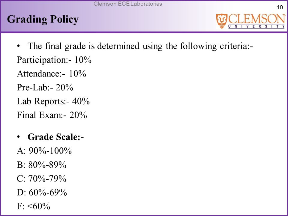 Grading Policy The final grade is determined using the following criteria:- Participation:- 10% Attendance:- 10%