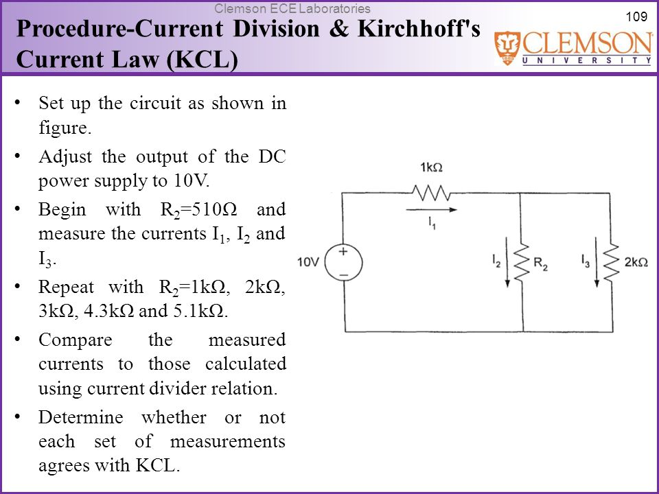 Procedure-Current Division & Kirchhoff s Current Law (KCL)