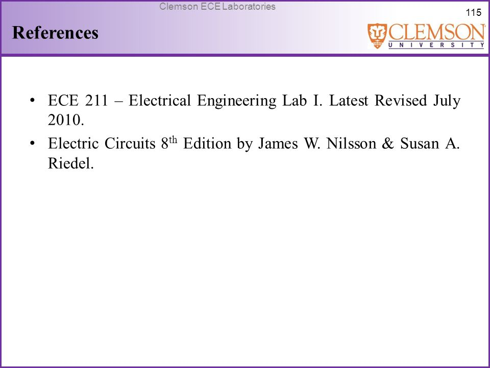 References ECE 211 – Electrical Engineering Lab I.
