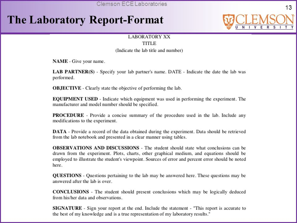 The Laboratory Report-Format