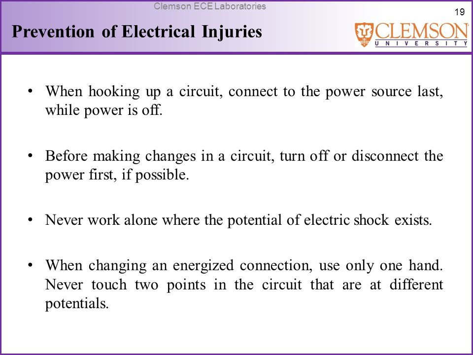 Prevention of Electrical Injuries