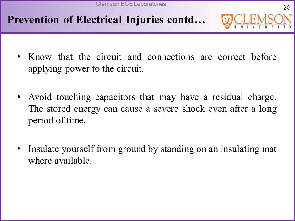 Prevention of Electrical Injuries contd…
