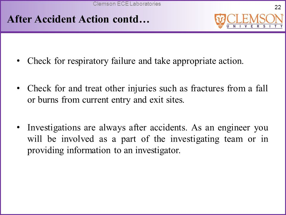After Accident Action contd…
