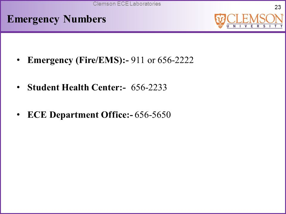 Emergency Numbers Emergency (Fire/EMS):- 911 or 656-2222