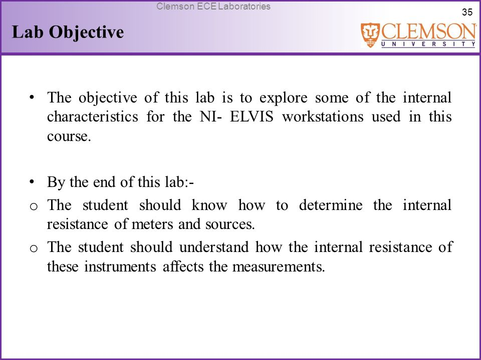 Lab Objective The objective of this lab is to explore some of the internal characteristics for the NI- ELVIS workstations used in this course.